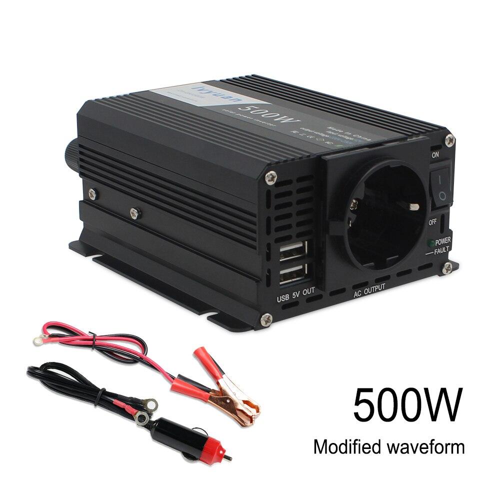 500 W/1000 W convertisseur d'inverseur de puissance de voiture DC 12 V à AC 220 V puissance d'onde sinusoïdale modifiée avec sortie USB 5 V style de voiture et chargeur de voiture