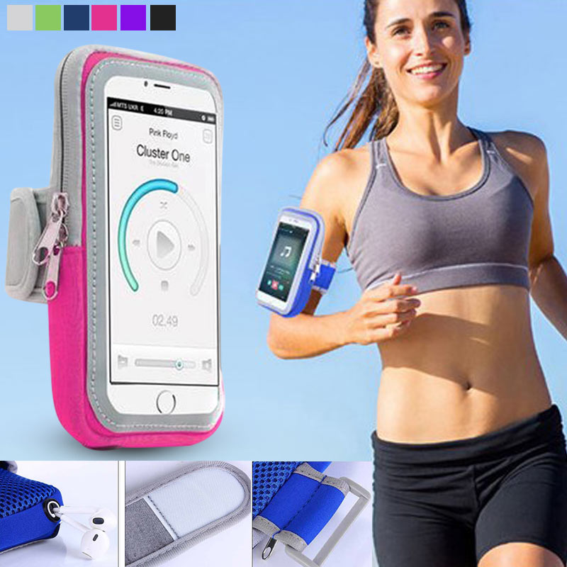 High Quality 4.7/5.5 Inch Arm Bag With Card Slot Sweatproof Running Sports Fitness Phone Case For IPhone Samsung Xiaomi HuaWei