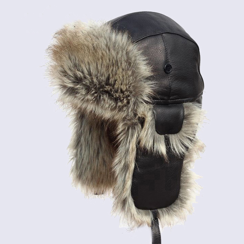 Genuine Leather Bomber Hat Faux Rabbit Fur Aviator Trapper Trooper Winter Warm Plush Earflaps Snow Ski