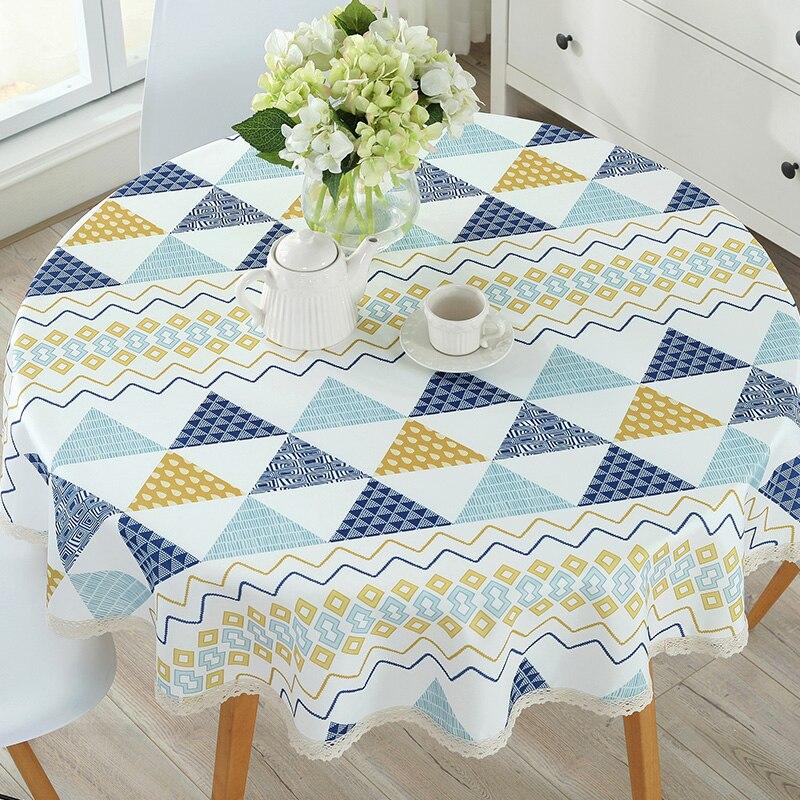 Table ronde Tissu Salon Nappe Pastorale Table Tapis Couverture étanche Contre L'huile Chaude de Appliquer Pour Le Bureau et Thé Table