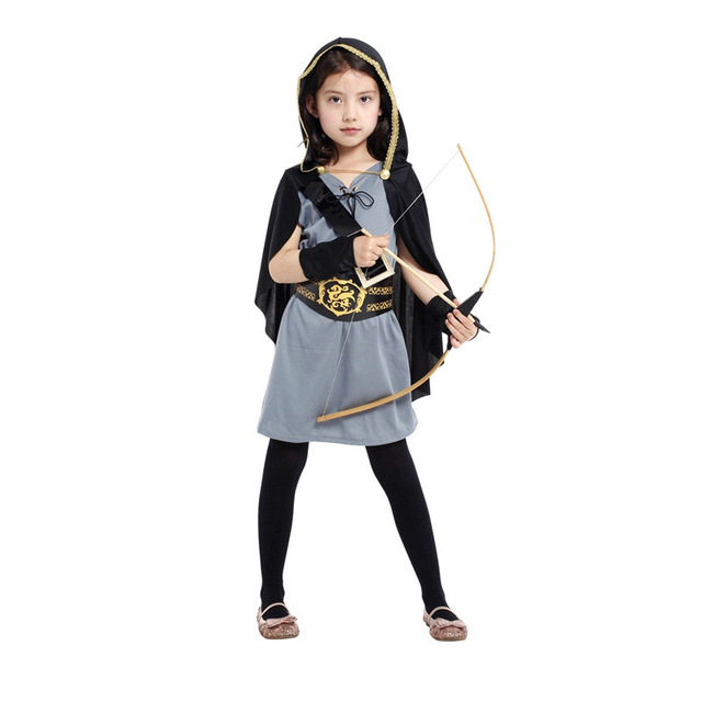 26e7110ac7ae Girl Halloween crusades Costume Archer Cosplay Wizard Role play Carnival  Children's day Stage performance Masquerade party dress