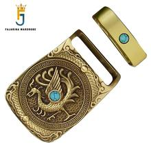 FAJARINA Mens Unique Design Dragon&ifeng Pattern Embossed Turquoise Decorative Solid Brass Smooth Model Buckles for Men BCK028