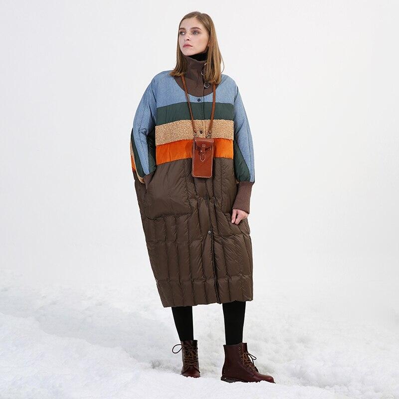 Original Design 2018 manteau d'hiver col roulé manches chauve-souris multicolore patchwork surdimensionné long blanc duvet de canard veste femmes