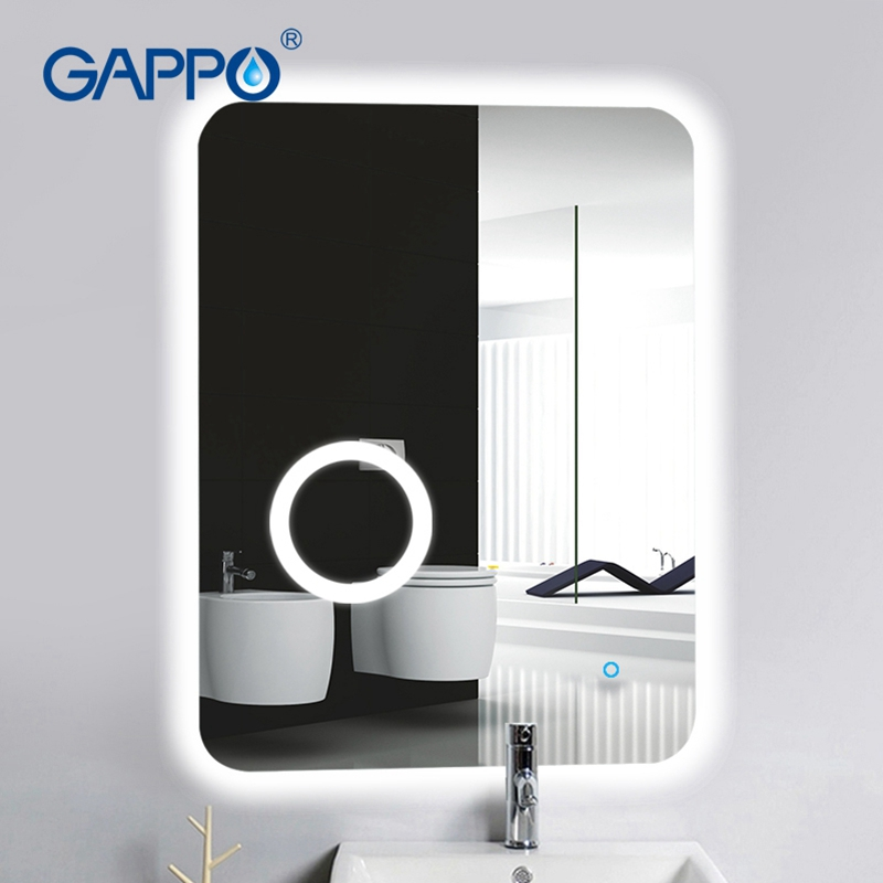 Gappo Bath magnifier Mirrors Led 600 800 cosmetic mirror touch switch light adjustable wall mounted light