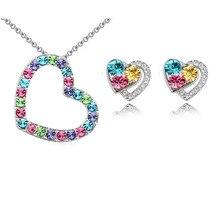 Австралийский Кристалл, полностью из страз, подвеска в форме сердца, ожерелье, серебряные серьги, покрытые покрытием, свадебный ювелирный набор
