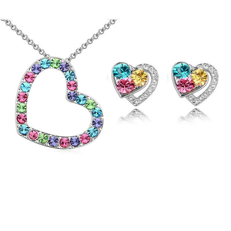 Hot Sale 2015 Austrya Crystal Full Of Rhinestone Heart Shape Pendant Necklace Stud Earring Silver Plated For Wedding Jewelry Set