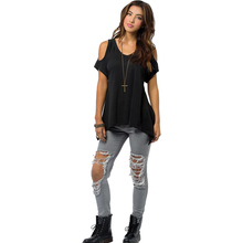 Fashion Women Summer Strapless Loose Top Short Sleeve Ladies Casual Fishtail Hem Tops T-Shirt