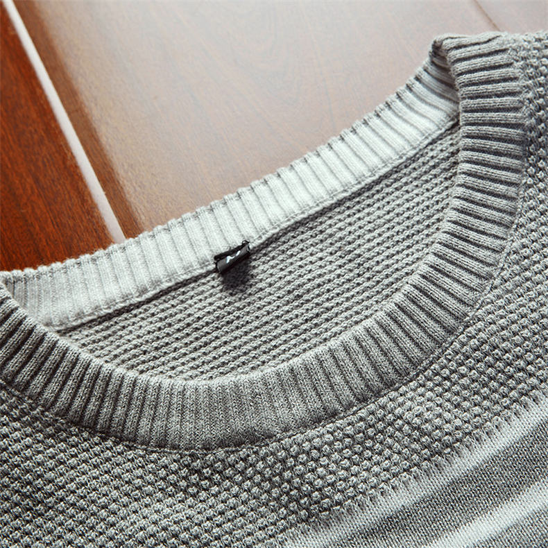 MuLS 2019 Spring Knit Sweater Men Pullover Striped Sweater Jumpers Autumn Male Cotton knitwear Youth Blue Black Grey Size M-3XL 2