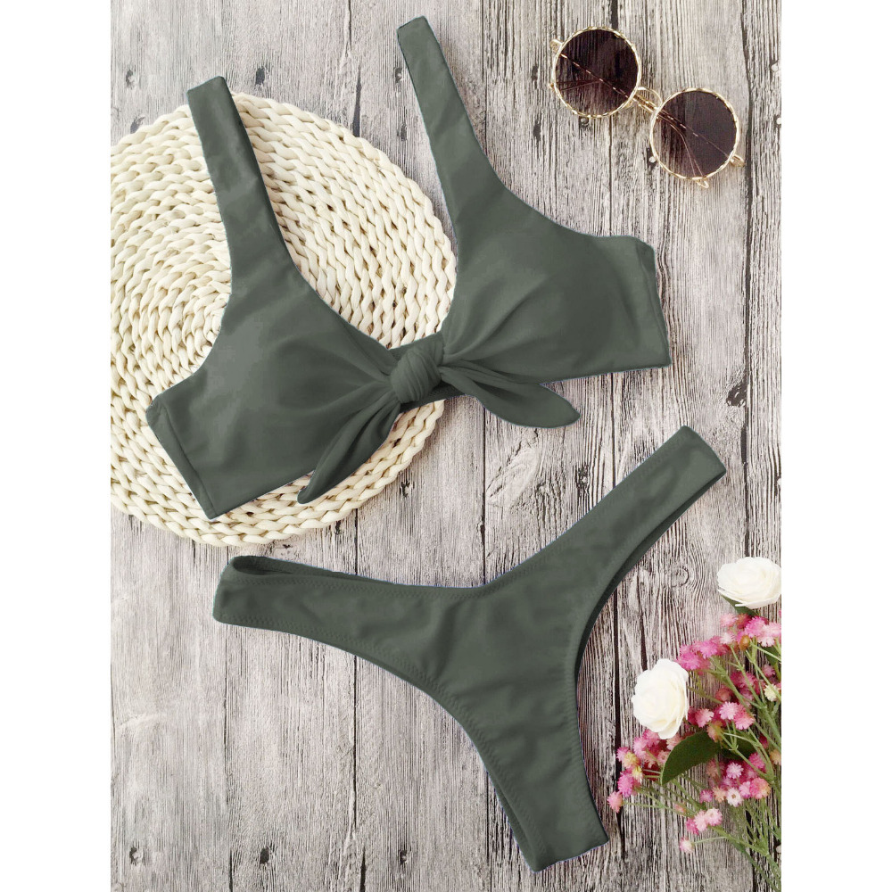 Zaful Swimsuit New Arrival Women Knotted Padded Thong Bikini Mid Waisted Solid Color Scoop Neck Brazilian Biquni Beach Swimwear 5