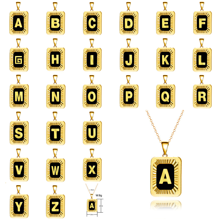 26 Initial Letter 7 Colors Black Enamel Necklace Gold Color Square Tag Pendant Necklace for Women Men Gift Jewelry ec