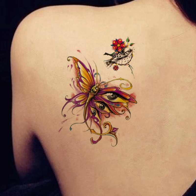 8187f050b ... 1x DIY Body Art Temporary Tattoo Colorful Animals Watercolor Painting  Drawing Horse Butterfly Decal Waterproof Tattoos ...
