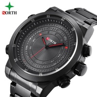 Unique Black Casual Men's Watches LED Light Full Stainless Steel 3ATM Waterproof Luxury North Male Sport Wristwatch Men's Gift
