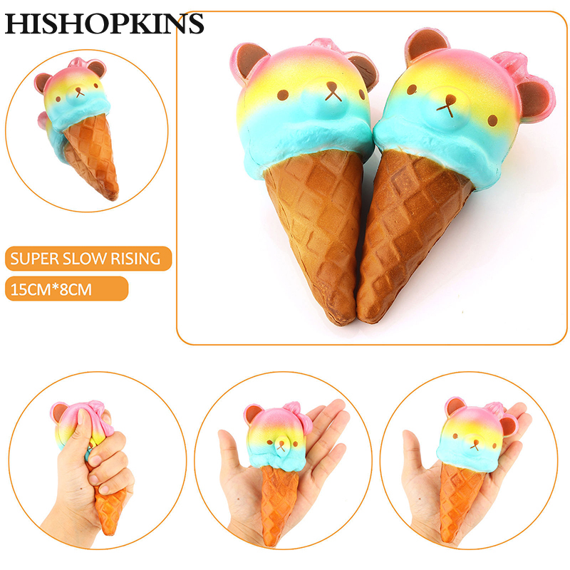 Mobile Phone Straps Kawaii Squishy Colorful Yummy Ice Cream Super Slow Rising Strap Squeeze Bread Cake Toy Gift