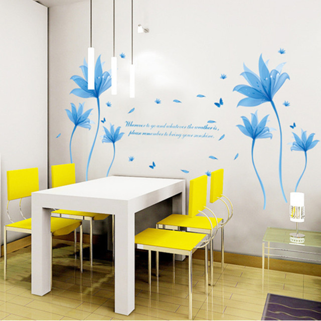 New Design High Quality Blue Dream Flowers Wall Stickers For - Wall decals hallway