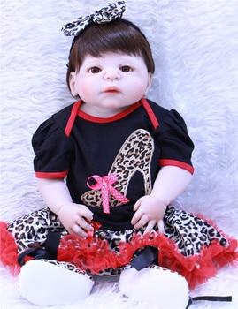 NPK Full Silicone Body Reborn Baby Doll For Girl Play House Bath Toy 57CM Soft Vinyl Lifelike Babies Toddle Boenca Fashion Dolls