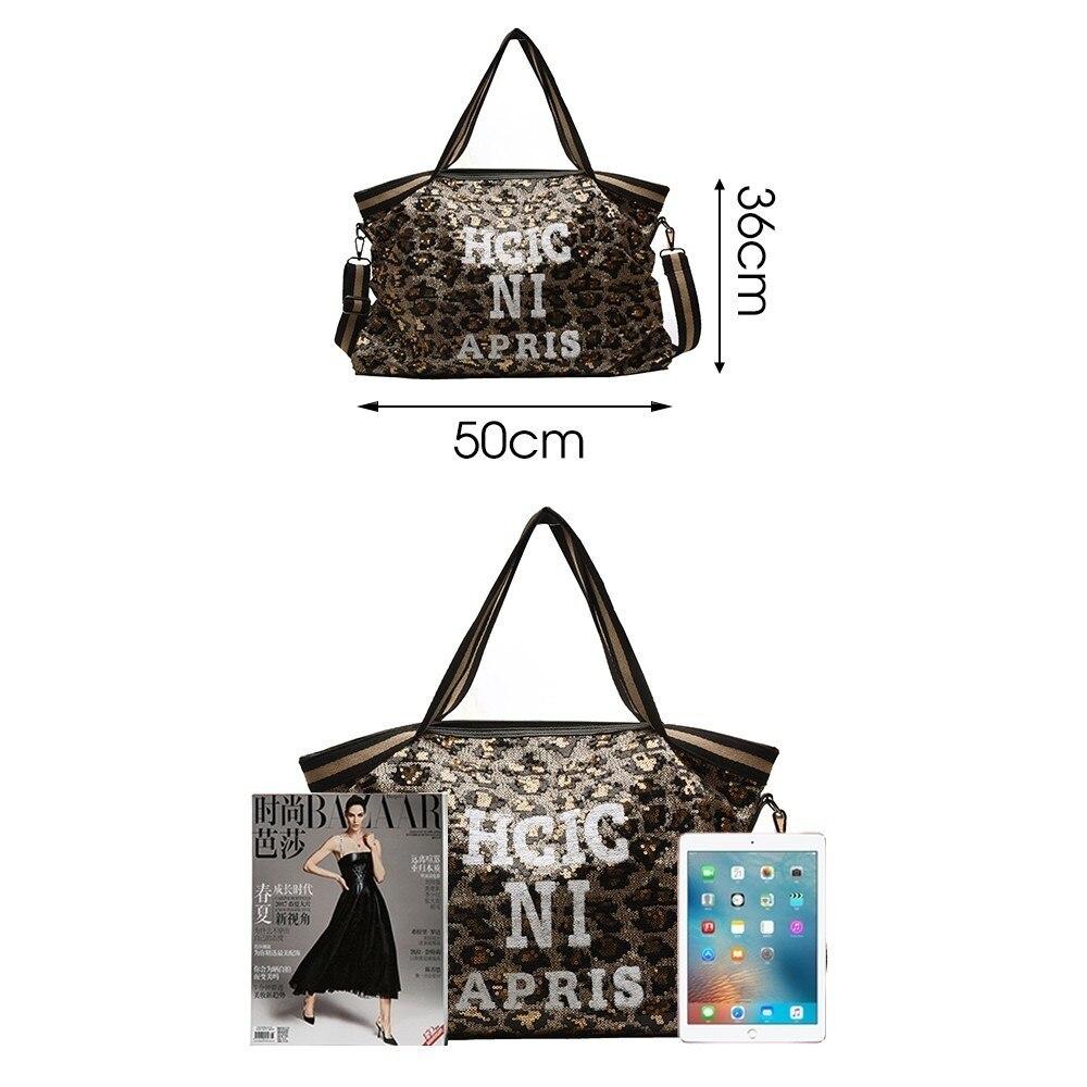Image 3 - Herlad Fashion Large Womens Handbag Quality Leather Shiny Sequined Female Shoulder Bag Casual Letter Print Ladies Tote Bag SacShoulder Bags   -