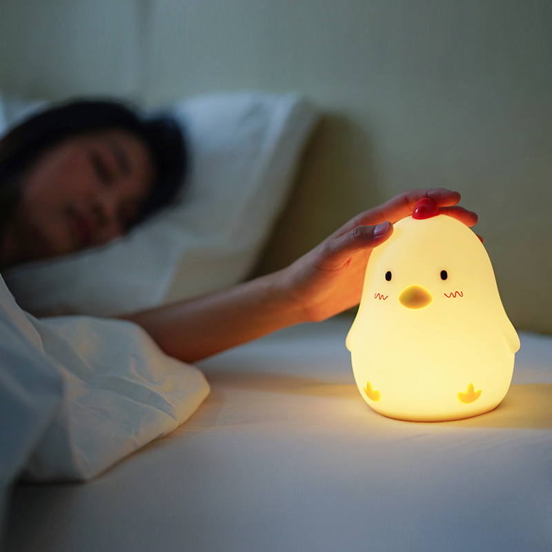 Muid chicken Alarm clock with Night Light, Silicone touch wake up Chicken clock pat light for home, office, children gift gadget wake up night light alarm clock sunrise simulation dusk fading night light with nature sounds fm radio touch control usb charger