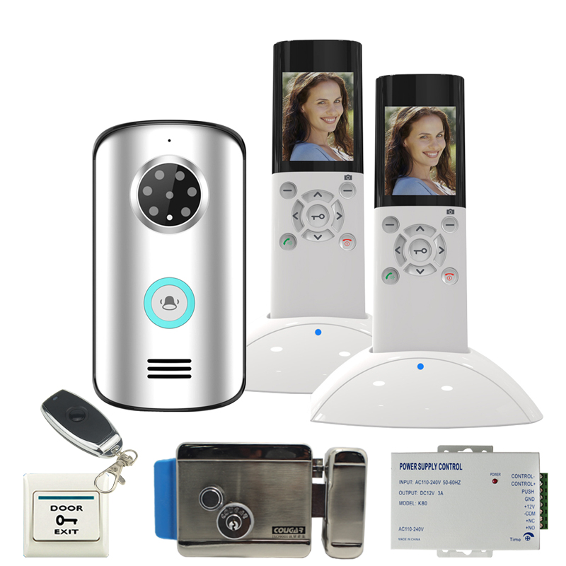JERUAN Wireless video door phone doorbell intercom system KIT IP55 waterproof 120 degree Camera +remote control 1V2 ip video door phone intercom system wireless control ip camera video intercom remote control smart doorbell via smartphones