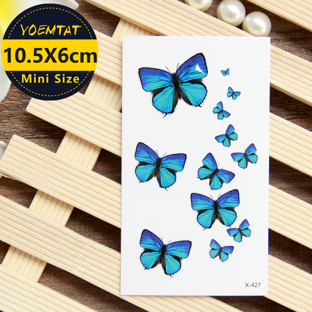 1 Piece Waterproof Temporary Tattoo Sticker Blue Butterfly Tattoo Water Transfer Fake Tattoo Flash Tattoo For Girl Women Men