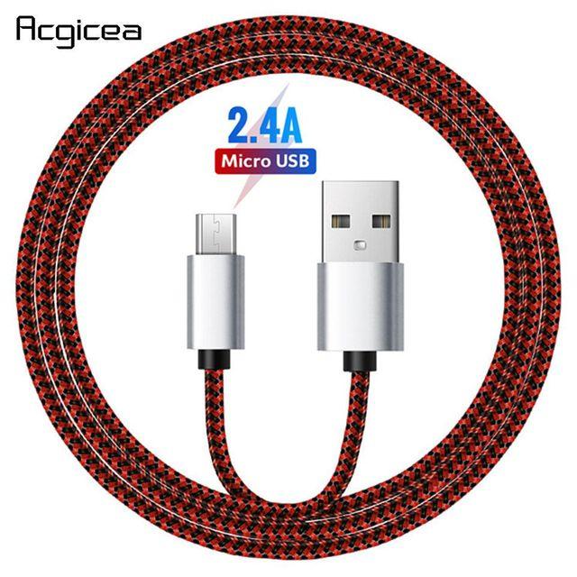 Cable Micro USB de 2,4 a para móvil, Cable de carga de sincronización de datos rápida para Samsung, Huawei, Xiaomi, LG, HTC, Nokia, Android