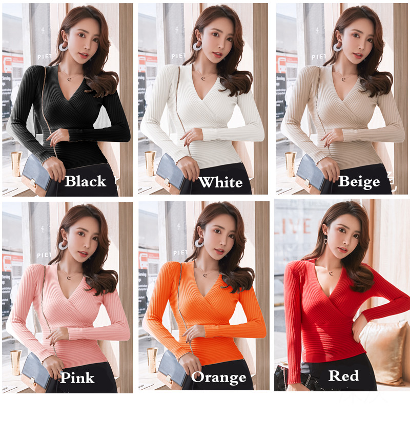 19 New Sexy Deep V Neck Sweater Women's Pullover Casual Slim Bottoming Sweaters Female Elastic Cotton Long Sleeve Tops Femme 7