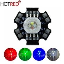 50 יח\חבילה 4*3 W 12 W RGBW RGB + לבן גבוהה כוח Led דיודה שבב מנורת אור אדום ירוק כחול לבן עם 20mm כוכבים בסיס