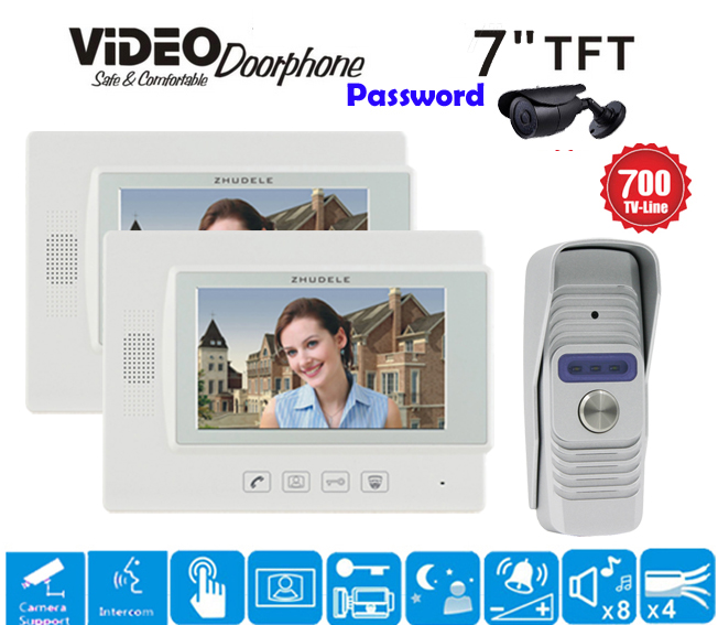 ZHUDELE 7 Display Wired Video Door Phone Touch button Doorbell Intercom Night Vision 1V1 700TVL HD Home House Security 1V2