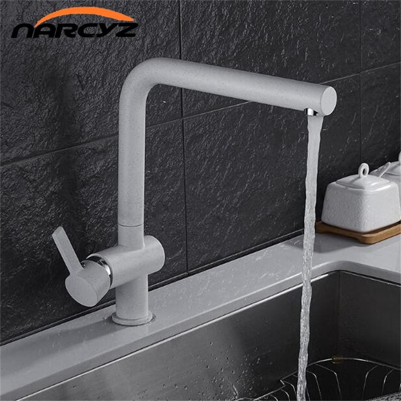 High quality Quartz stone kitchen faucet sandblast paint 360 degree rotation copper oat color  hot and cold faucet XT-73 boxpop lb 080 35