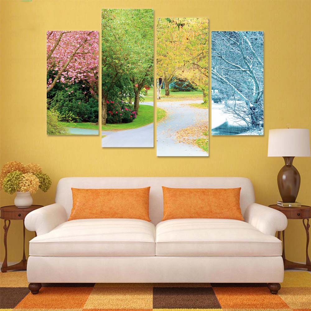 HD Printed Pictures Poster Frame 4 Panel Four Colors Of Cherry Trees ...