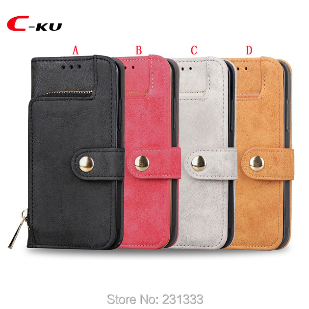 C-ku Multifunction Zipper Retro Wallet Leather Case For Iphone X 8 7 PLUS 6 6S For Samsung Galaxy S8 Plus Card Stand Cover 1pcs