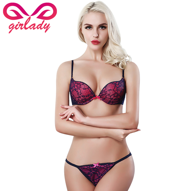 c3c94f9c4e9e5 GIRLADY Ladies French Lace Push Up Bra Set Sexy Pink String Panties And Bra  Sets Women A B C Cup Brand Hot Ensemble Lingerie Set