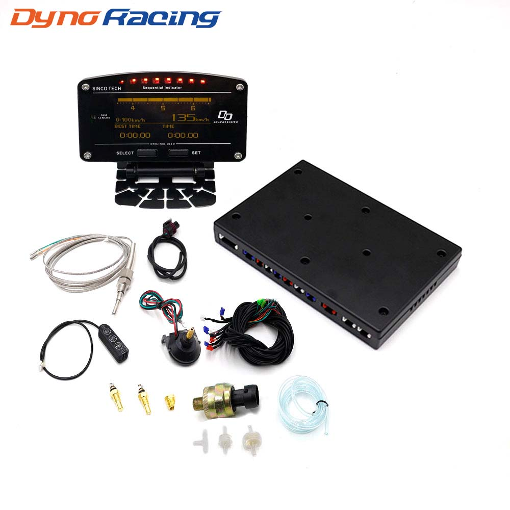 Dynoracing 10 en 1 Nuevo estilo Auto Sports Digital Meter OLED Tacómetro digital Full Sensor Kit Electrical Car Meter YC101196
