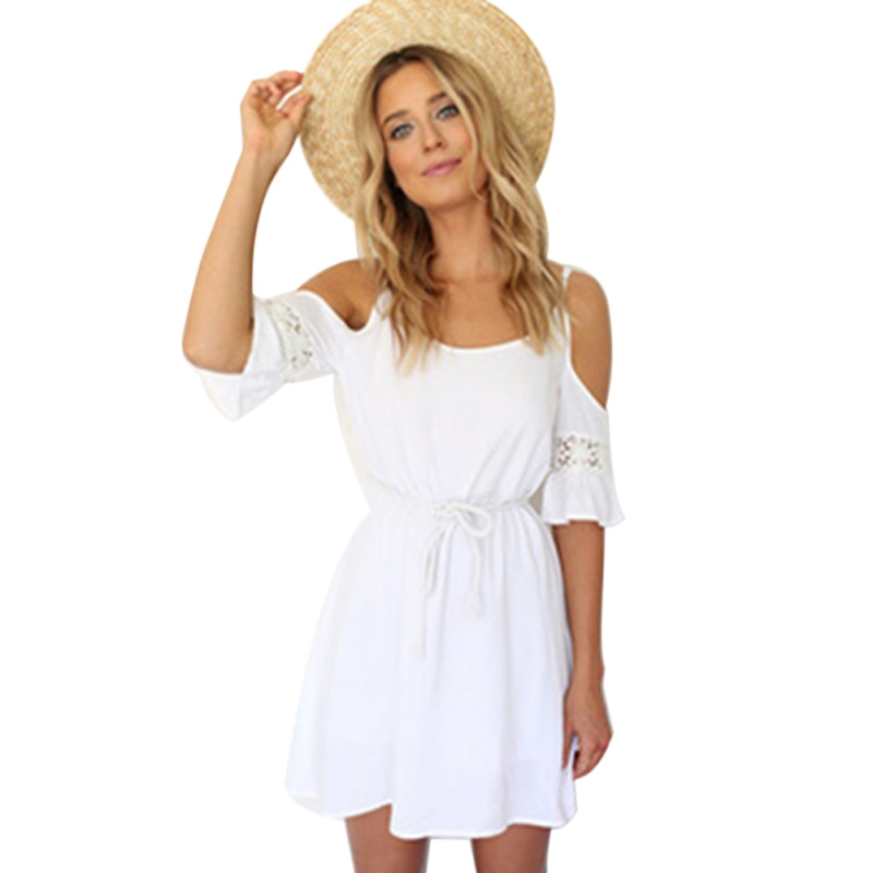 Women Elegant Vintage Sweet Lace White Dress Stylish Vestidos Sexy Slash Neck Hollow Out Casual Slim Beach Summer H6