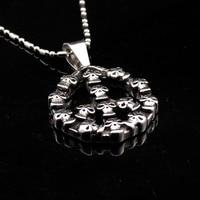 Fashion Stainless Steel Skull Pendant Cross Necklace Link Chain For Men AP1643