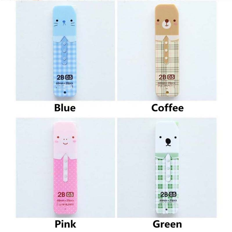 0 5mm 20pcs lot box Kawaii 2B Mechanical Pencil Refills Cartoon Animal Pencil Lead Stationery For Student Office School Supply in Pen refill from Office School Supplies