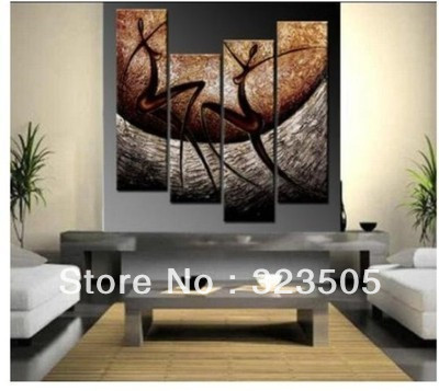 4 Piece Wall Art Abstract Modern Ornaments Hand Painted Oil Painting On Canvas For Living Room