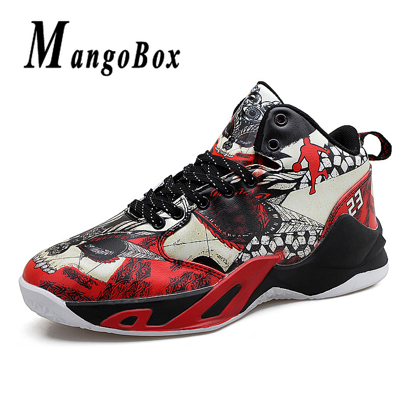 Boy Outdoor Shoes Red Basketball Sneakers Male Pu Leather Sneakers Men High Top Brand Gym Shoes Designer Basketball Shoes Sport