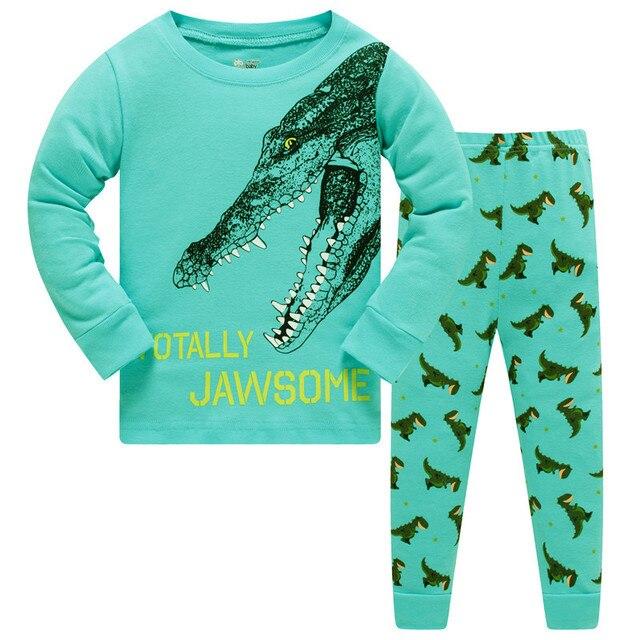 cf43dd6ddf66 100% cotton children pajamas set kids Cartoon dinosaurs sleepwear ...