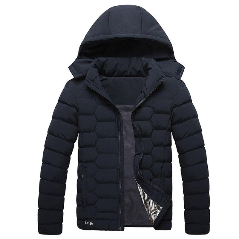 Зимние куртки Для мужчин новая мода Теплая парка Верхняя одежда ветрозащитный толстые Термальность вниз хлопковые парки Для мужчин с капюш...