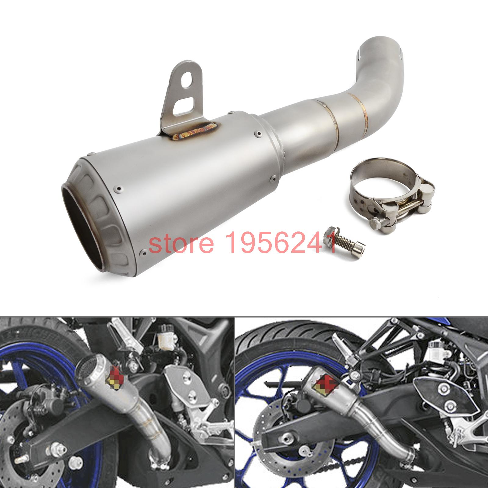 Motorcycle Parts Stainless Steel Slip-On Exhaust For Yamaha YZF-R3 YZF-R25 2015 2016 2017 2018 YZFR3 YZFR25 2014 2015 2016 yzf r3 r25 abs injection fairing kit for yamaha yzfr3 yzfr25 pearl white complete fairings body kit cowling