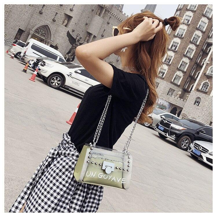 18 Summer Fashion New Handbag High quality PVC Transparent Women bag Sweet Printed Letter Square Phone bag Chain Shoulder bag 15