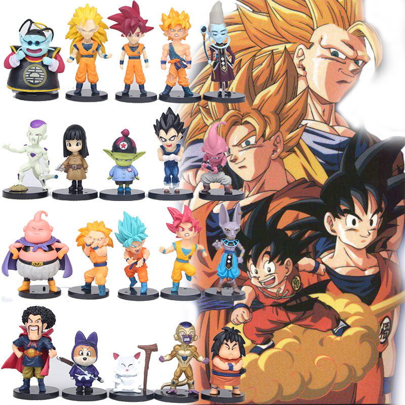 Us 219 50 Offaction Figure 20pcslot Dragon Ball Z Toy Goku Vegeta Super Saiyan Hercule Frieza Buu Beerus Whis Anime Dbz Mini Model Doll In Action