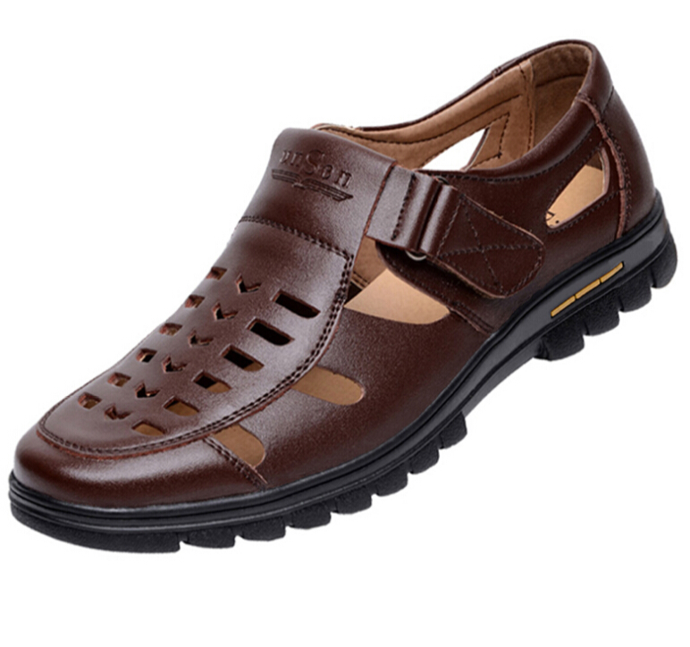 Summer black brown shoes mens fashion hollowed Genuine leather sandals breathable man casual shoes father leather sandals