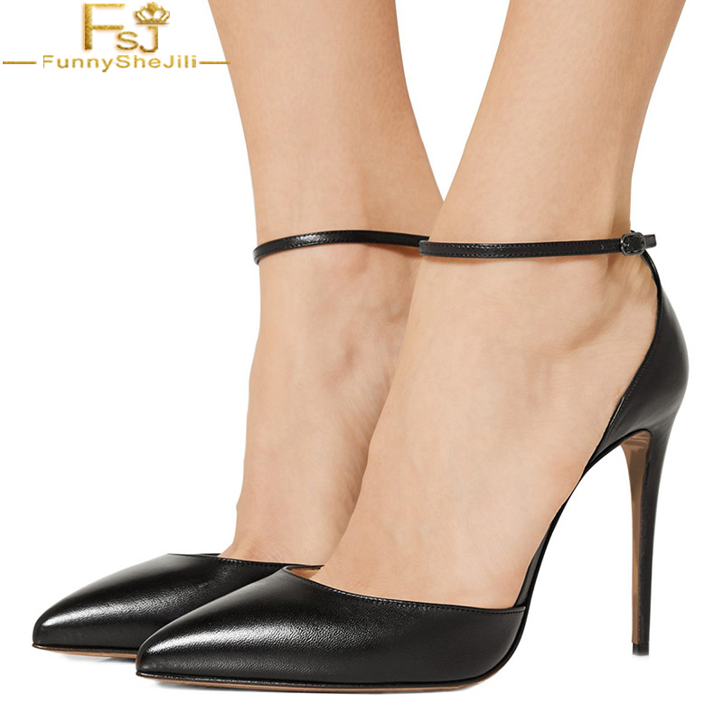 Lady Pointed Toe High Heels Sandals Stilettos Ankle Strap Hollow Pumps Shoes