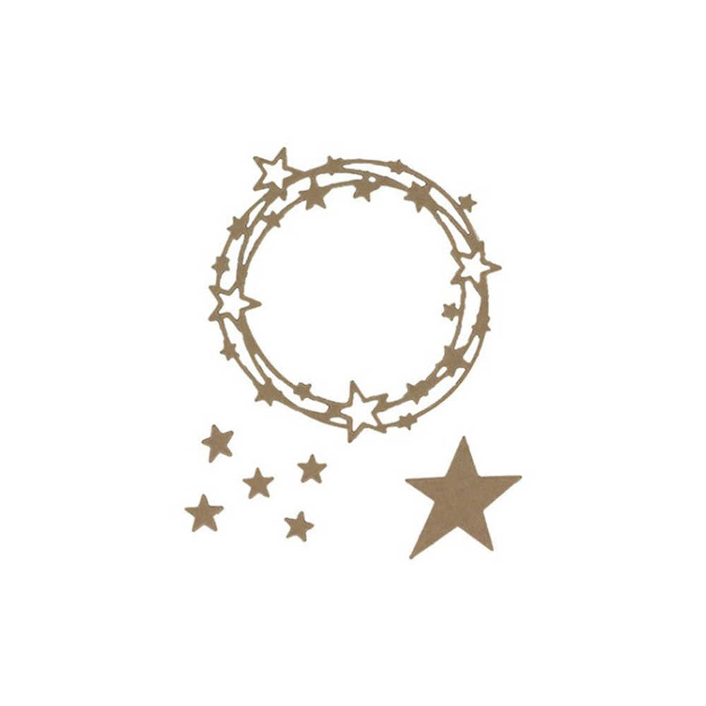 Gowing Star Wreath Carbon Steel Metal Cutting Dies Stencil for DIY Scrapbooking Paper Album Card Craft Embossing Dies Cut