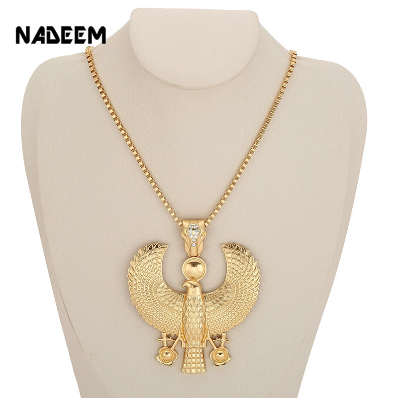 Newest Fashion Metal Gold Color Egyptian Horus Bird Falcon Holding Ankh Pendant Necklace Bib Chain Choker Animal Hiphop Necklace