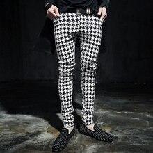 """M-6XL! мужские брюки, осенние и зимние повседневные брюки, мужские обтягивающие брюки с рисунком """"гусиная лапка"""", одежда певицы"""