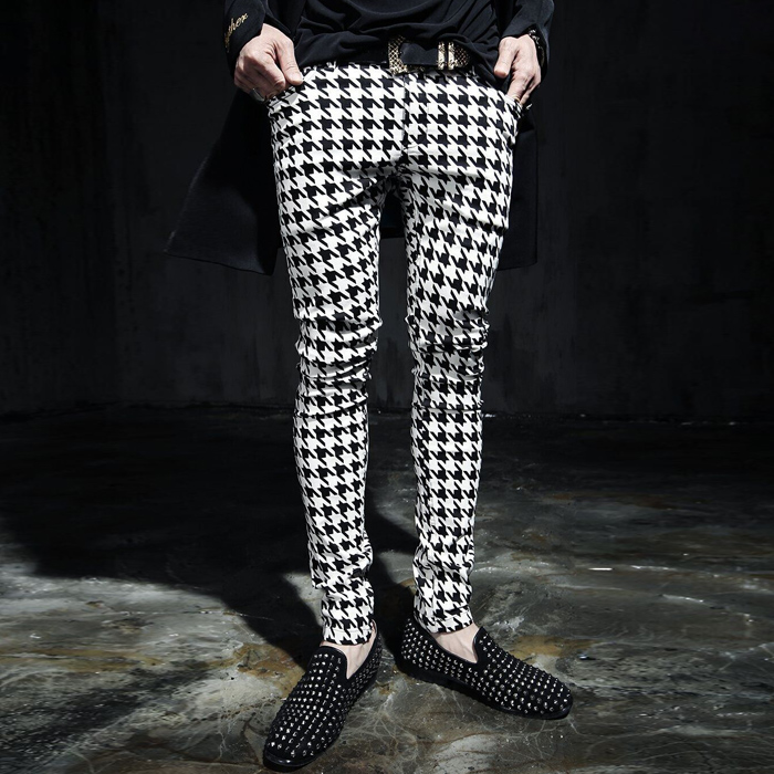 M-6XL! 2018 Men's Trousers Autumn And Winter Casual Pants Male Personality Houndstooth Skinny Pants The Singer's Clothing