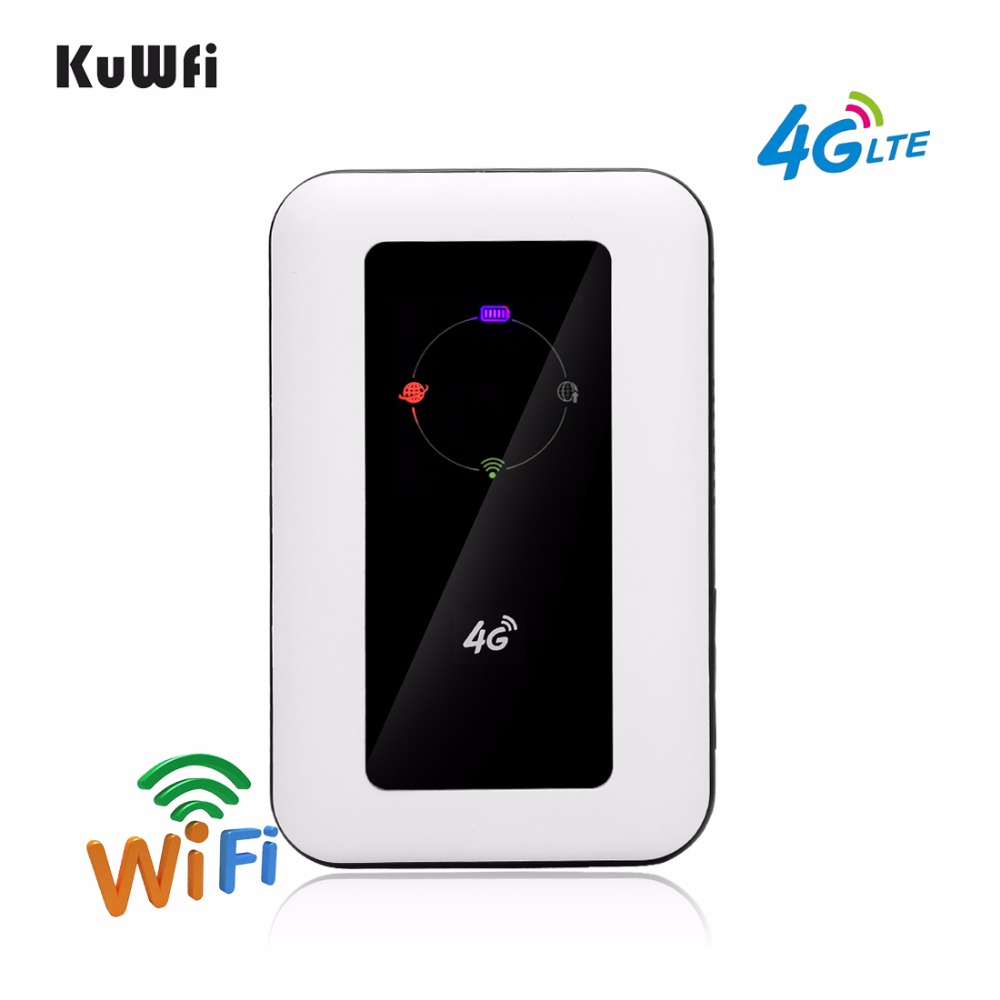 KuWFi 4G Wireless Router LTE Protable 3G/4G Wifi Router 4G Mobile Wifi Hotspot Wifi Broadband Unlocked Modem With Sim Card Slot kuwfi smart moblie power bank 3g wifi router with sim card slot portable mobile wifi hotspot wi fi modem 3g wifi router
