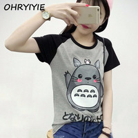 2016 Summer Style Cute Totoro T Shirt Women Short Sleeve T Shirt Plus Size Graphic Tee